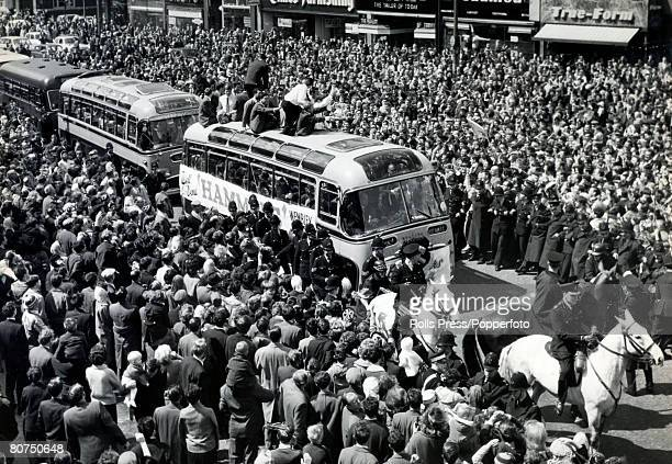 3nd May 1964 FA Cup Final at Wembley West Ham United 3 v Preston North End 2 on 2nd May 1964 The West Ham United team parade the FA Cup from an open...