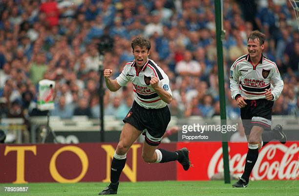 3rd August 1997 FACharity Shield at Wembley Chelsea 1 v Manchester United 1 Manchester United won 42 on penalties Manchester United's Ronnie Johnsen...