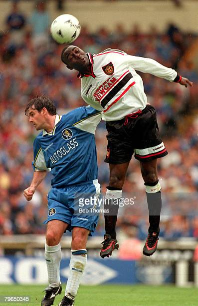 3rd August 1997 FACharity Shield at Wembley Manchester United v Chelsea United won 42 on pens Manchester United striker Andy Cole outjumps Chelsea...