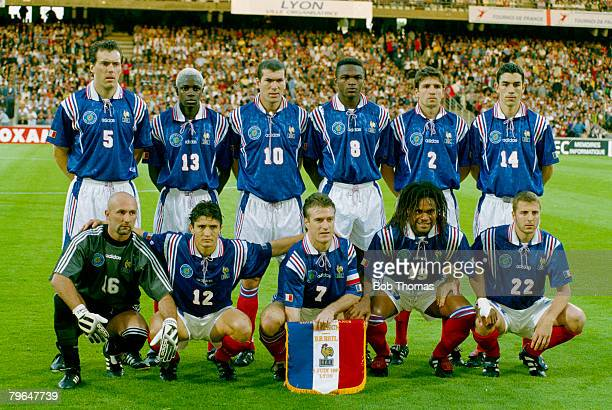 3rd June 1997 Tournoi de France in Lyon France 1 v Brazil 1 France team group Back row leftright Laurent Blanc Ibrahim Ba Zinedine Zidane Marcel...