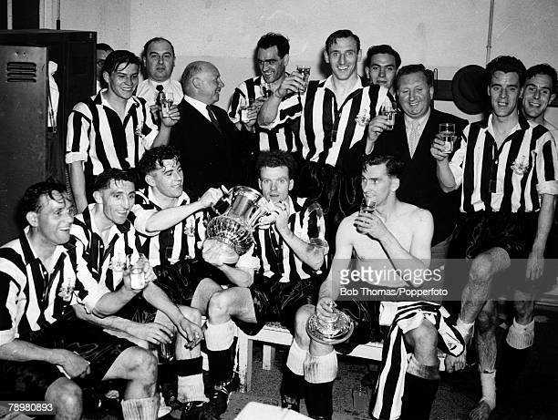 3rd May 1952 FA Cup Final at Wembley Newcastle United 1 v Arsenal 0 Newcastle United celebrating in the dressing room were Bobby Cowell Joe Harvey...