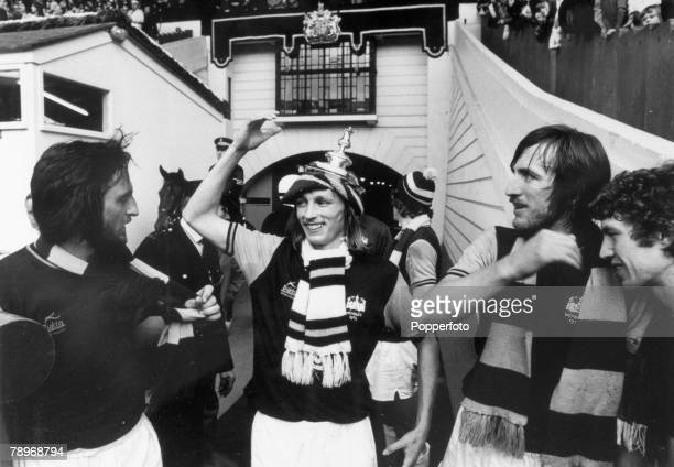 3rd May 1975 1975 FA Cup Final at Wembley West Ham United 2 v Fulham 0 West Ham United striker Alan Taylor the 2 goal matchwinning hero the centre of...