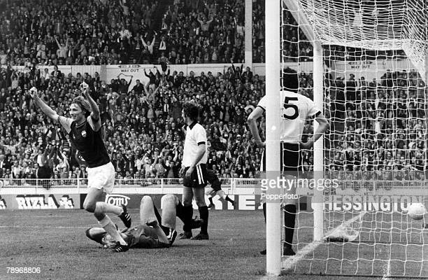 3rd May 1975 1975 FA Cup Final at Wembley West Ham United 2 v Fulham 0 West Ham United striker Alan Taylor the 2 goal matchwinning hero arms raised...
