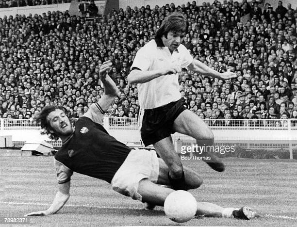 3rd May 1975 FA Cup Final at Wembley West Ham United 2 v Fulham 0 West Ham United's Les Barrett is tackled by West Ham United's Billy Bonds