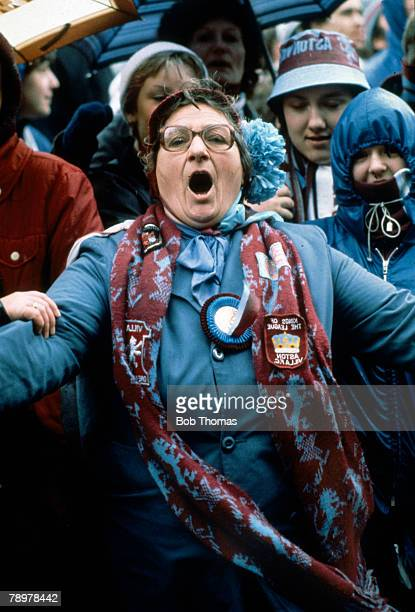 3rd May 1981 Birmingham Aston Villa League Championship win One of Aston Villa's dedicated fans Mrs Celia Forbes singing the praises of 'Villa' the...