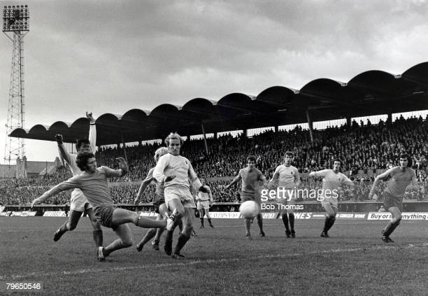 3rd October 1970 Everton's Alan Ball left shoots for goal Alan Ball born 1945 numbered amongst his clubs Blackpool Everton and Arsenal When...