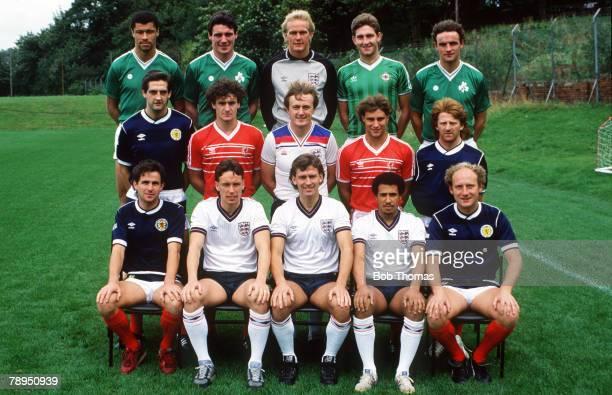 3rd October 1985 Manchester United Back row leftright Paul McGrath Republic of Ireland Frank Stapleton Gary Bailey Norman Whiteside Kevin Moran...