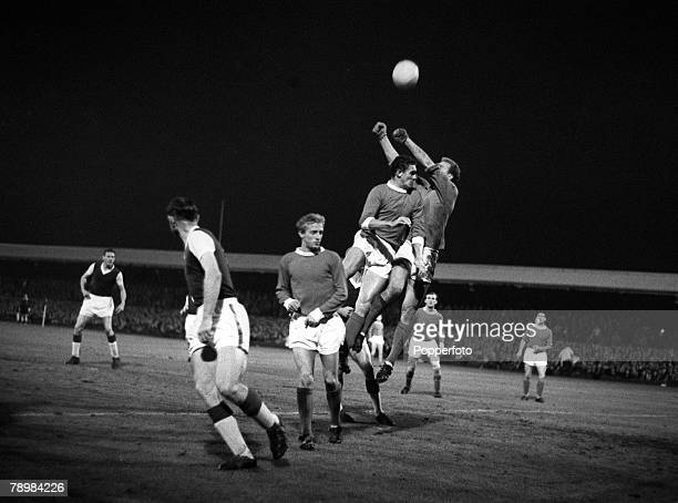 3rd September 1963 Division 1 Ipswich Town v Manchester United at Portman Road Manchester United goalkeeper Harry Gregg puches clear with defender...