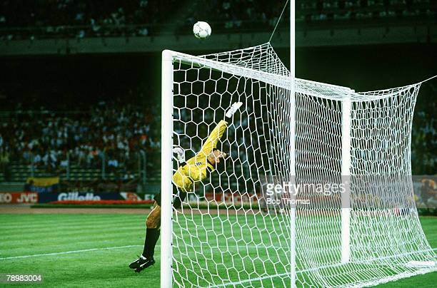 4th July 1990 World Cup Finals Turin West Germany vs England West Germany win 43 0n Penalties England's Peter Shilton is beaten by Andreas Brehmes...