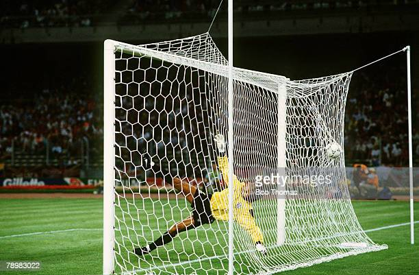 4th July 1990World Cup Finals Turin West Germany vs England West Germany win 43 on Penalties Englands Peter Shilton beaten by Andreas Brehmes...