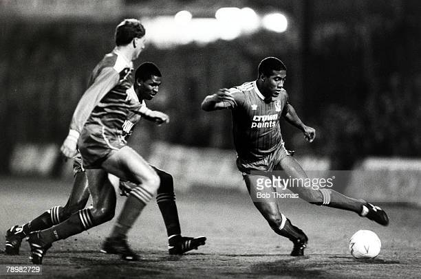 4th November 1987, Division 1, Wimbledon 1, v Liverpool 1, Liverpool's John Barnes takes on 2 Wimbledon defenders, John Barnes played for Liverpool...