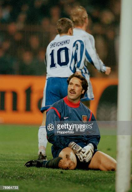 4th November 1998 UEFA Champions LEAGUE in Kiev Dynamo Kiev 3 v Arsenal 1 Arsenal goalkeeper David Seaman on his knees after just failing to stop...