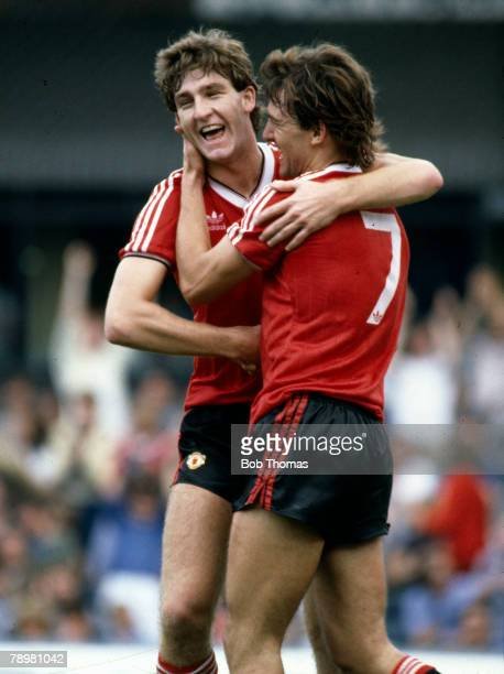 4th September 1982 Division 1 West Bromwich Albion v Manchester United Manchester United's Norman Whiteside left congratulates Bryan Robson who had...
