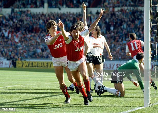 5th April 1987 Littlewoods Cup Final at Wembley Arsenal 2 v Liverpool 1 Arsenal's Charlie Nicholas turns to celebrate after scoring the 1st goal as...
