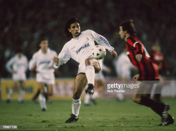 5th April 1989, European Cup Semi-Final 1st Leg, Real Madrid 1 v AC, Milan 1, Hugo Sanchez, Real Madrid
