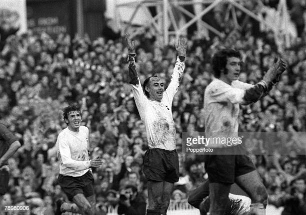 5th December 1970 Division 1Tottenham Hotspur v Manchester United Tottenham Hotspur striker Alan Gilzean centre celebrates a Spurs goal as teammates...