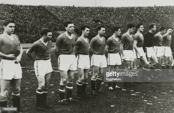 5th February 1958 European Cup Quarter Final 2nd Leg Red Star Belgrade 3 v Manchester United 3 Manchester United lr Duncan Edwards Eddie Coleman Mark...