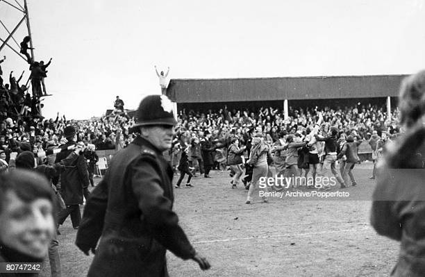 5th February 1972 FA Cup 3rd Round Replay at Edgar Street Hereford Hereford United 2 v Newcastle United 1 aet Hereford fans on the pitch at the end...