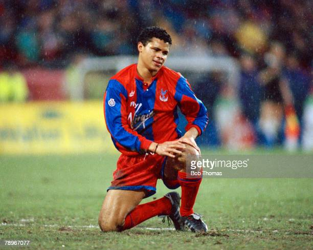 5th January 1991 FA Cup 3rd Round Crystal Palace 0 v Nottingham Forest 0 Crystal Palace's John Salako pictured in the rain John Salako won 5 England...