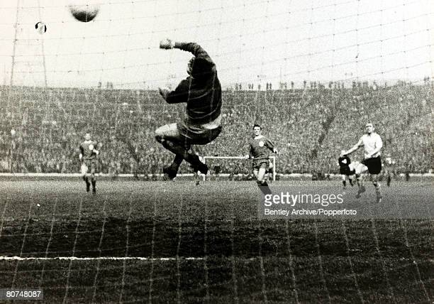5th May 1966 European Cup Winners Cup Final at Hampden Park Glasgow Borussia Dortmund 2 v Liverpool 1 Liverpool goalkeeper Tommy Lawrence is beaten...