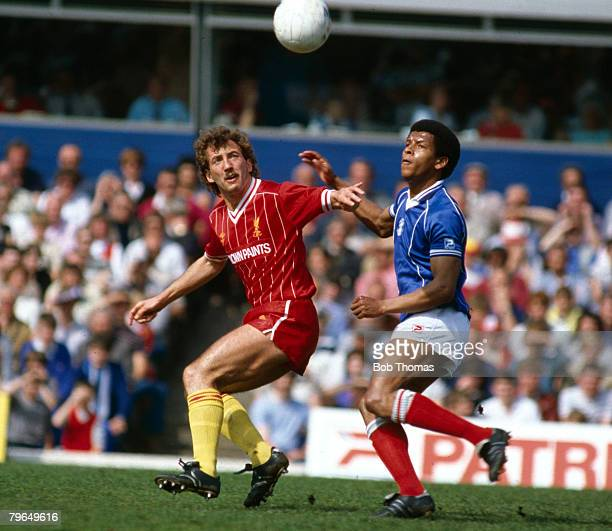 5th May 1984 Division 1 Birmingham City 0 v Liverpool 0 Liverpool's Alan Kennedy and Birmingham City's Howard Gayle with their eyes on the ball