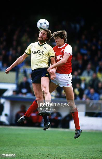 5th May 1986 Division 1 Oxford United 3 v Arsenal 0 Oxford United's Billy Hamilton goes for a high ball with Arsenal's Tony Adams right