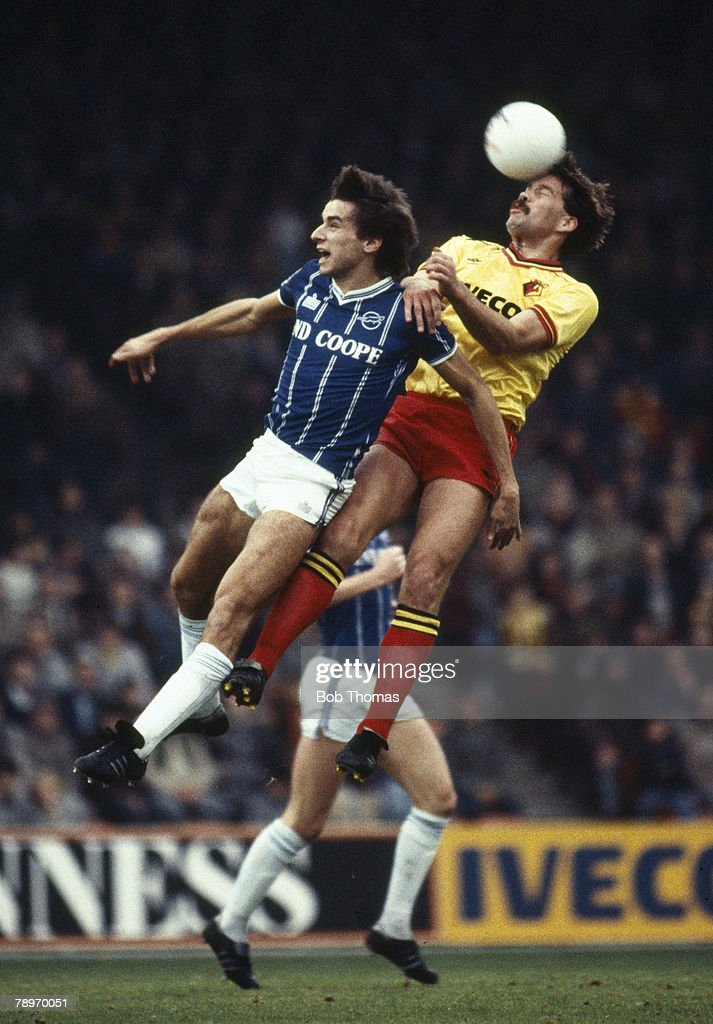 Sport. Football. pic: 5th November 1983. Division 1. Watford defender Steve Sims outjumps Leicester City's Alan Smith to win a high ball. : News Photo