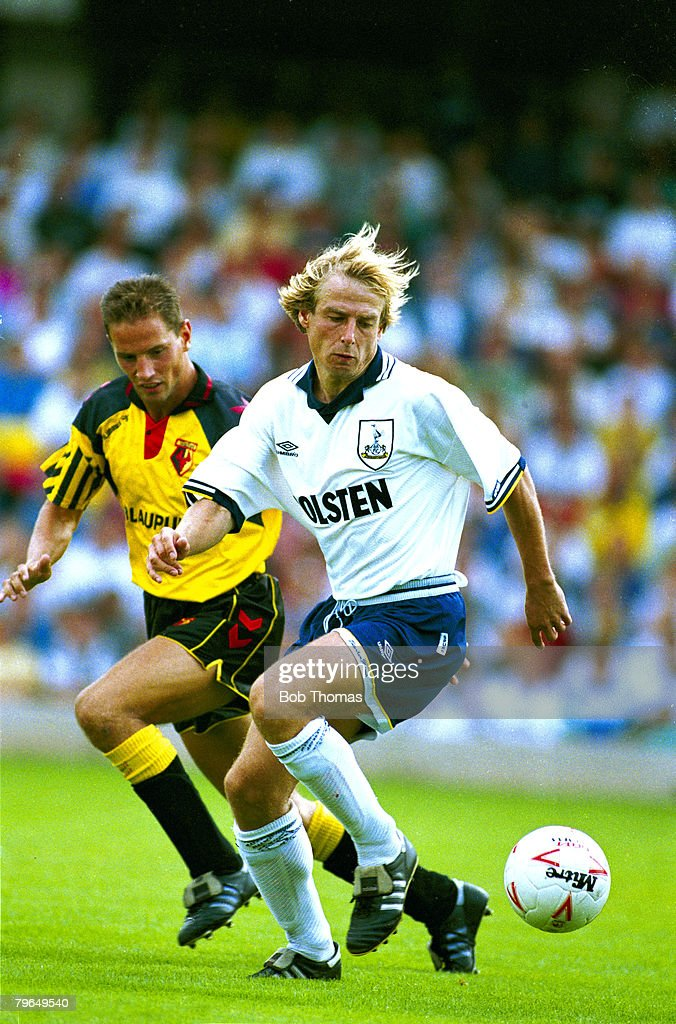 6th August 1994, Pre-Season Friendly, Watford 1 v Tottenham Hotspur 1, Tottenham Hotspur's Jurgen Klinsmann challenged by Watford's David Holdsworth, Jurgen Klinsman won 108 caps for Germany, a star striker, who scored 47 international goals
