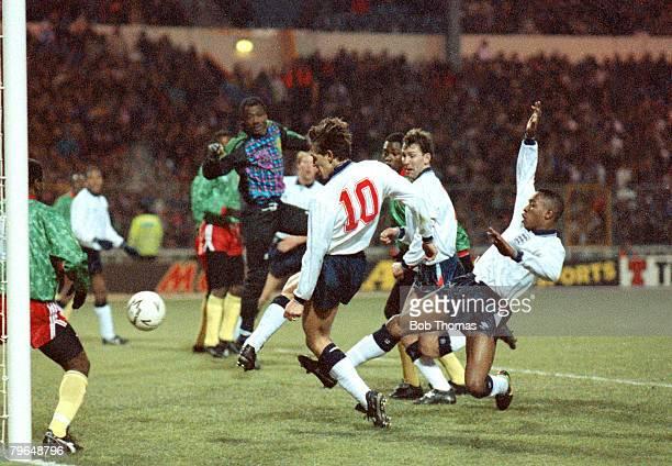 6th February 1991 Friendly International at Wembley England 2 v Cameroon 0 England's Gary Lineker scores from close range Gary Lineker one of...
