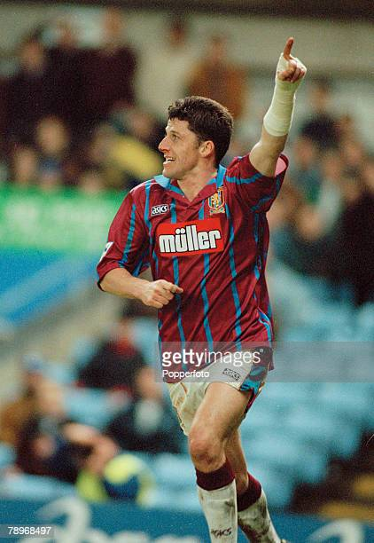 6th February 1994, FA, Carling Premiership, Aston Villa 1 v Leeds United 0, Aston Villa's Andy Townsend celebrates after scoring, Andy Townsend a...