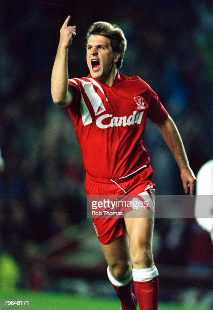 6th November 1991 UEFA Cup 2nd Round 2nd Leg Liverpool 3 v Auxerre 0Liverpool's Jan Molby celebrates after scoring for Liverpool Jan Molby a Danish...