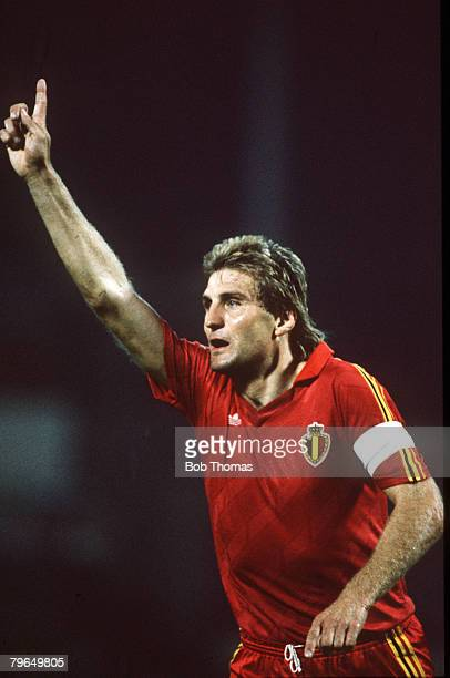 6th September 1989 World Cup Qualifier in Brussels Belgium 3 v Portugal 0 Jan Ceulemans Belgium after scoring their 1st goal He played for his...