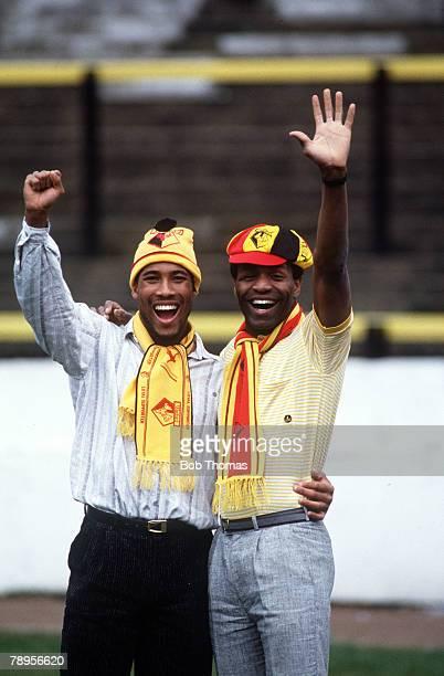 7th April 1987, Watford's strikers John Barnes, left and Luther Blissett