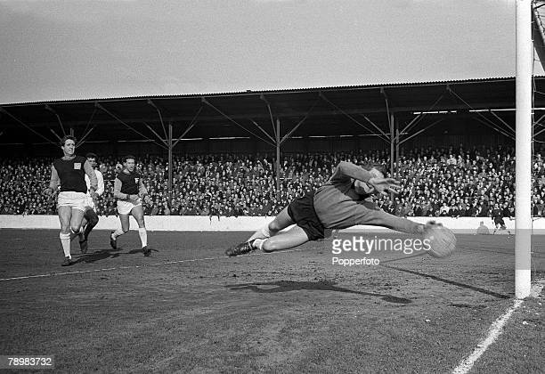 7th March 1964 Division 1 West Ham United 0 v Manchester United 2 at Upton Park West Ham United goalkeeper Jim Standen dives in vain as Manchester...