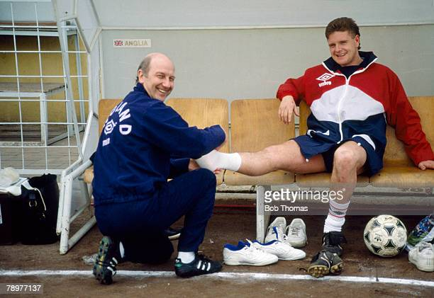 7th March 1989 England in Tirana England Physiotherapist Fred Street takes care of star Paul Gascoigne