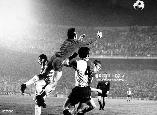 7th May 1970 European Cup Final in Milan Feyenoord 2 v Celtic 1 aet Feyenoord goalkeeper Graafland punches clear supported by his defenders as they...