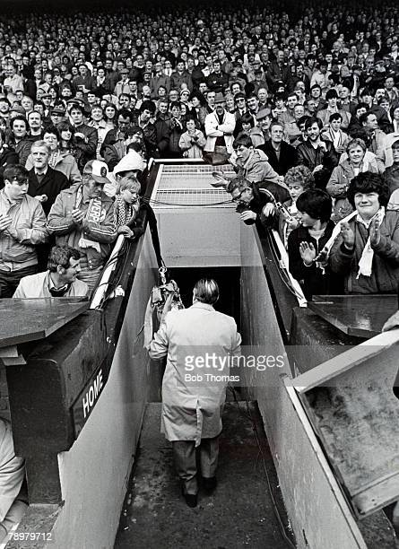 7th May 1983 Division 1 Liverpool 1 v Aston Villa 1 Bob Paisley walks down the tunnel at Anfield carrying the League Championship trophy prior to his...