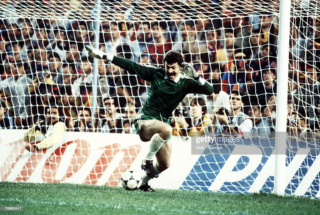 Sport. Football. pic: 7th May 1986. European Cup Final. Seville. Barcelona 0. v Steaua Bucharest 0. a.e.t. Steaua Bucharest win 2-0 on penalties. Steaua Bucharest goalkeeper Helmut Ducadam saves Barcelona's final penalty enabling Bucharest to win the matc : News Photo