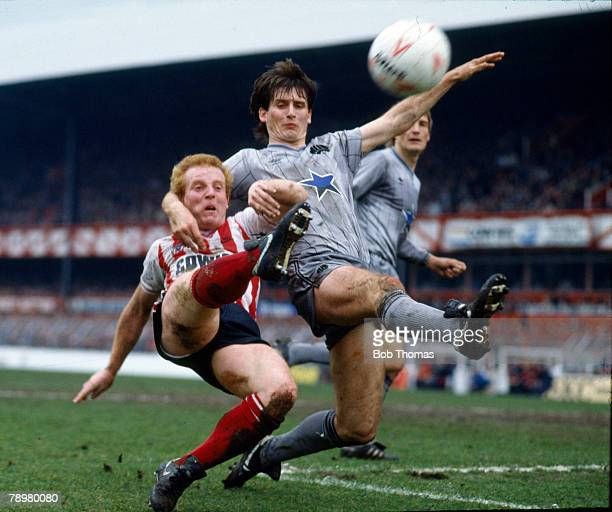 8th April 1985 Division 1 Sunderland 0 v Newcastle United 0 Sunderland's Ian Wallace shoots past Newcastle United's Glenn Roeder