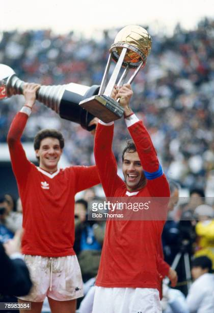 8th December 1985 World Club Championship in Tokyo Juventus beat Argentinos Juniors on penalties Juventus captain Antonio Cabrini holds aloft the...