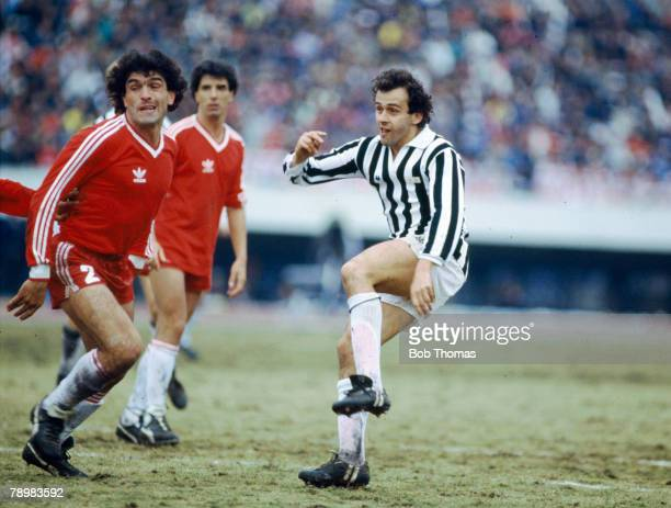 8th December 1985 World Club Championship in Tokyo Juventus beat Argentinos Juniors on penalties Michel Platini Juventus gets in a shot past the...