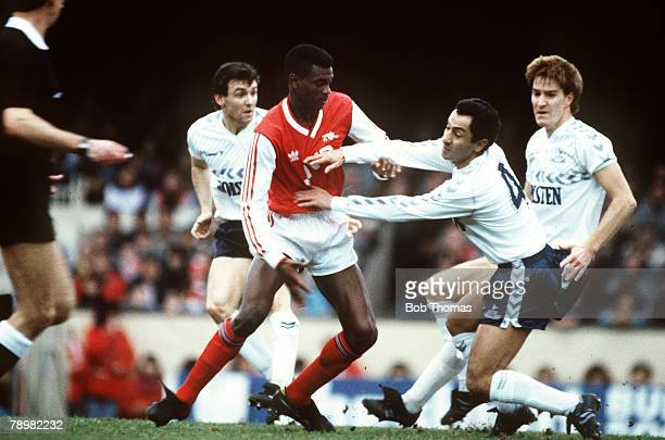 8th February 1987 Littlewoods Cup SemiFinal Arsenal 0v Tottenham Hotspur 1 Arsenal's Paul Davis tussles with Tottenham Hotspur's Osvaldo Ardiles
