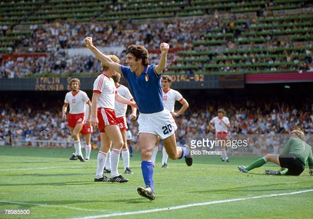 8th July 1982 1982 World Cup SemiFinal in Barcelona Italy 2 v Poland 0 Italy striker Paolo Rossi celebrates after scoring