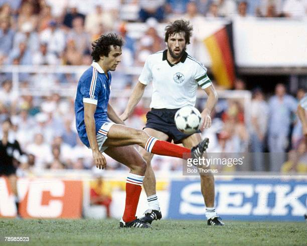 8th July 1982, World Cup Semi-Final in Seville, West Germany 3 v France 3, West Germany win on penalties, France's Michel Platini on the ball watched...