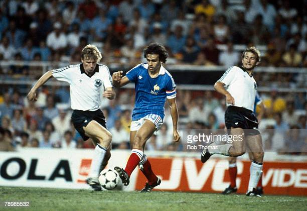 8th July 1982 World Cup SemiFinal in Seville West Germany 3 v France 3 West Germany win on penalties West Germany's Bernd Foerster and France's...