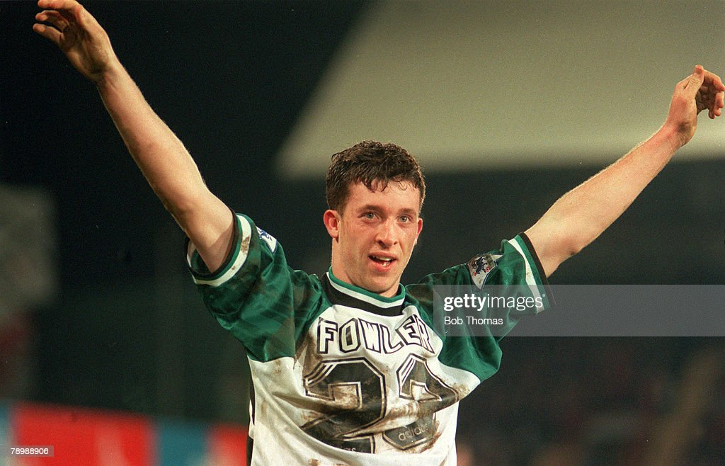 Sport. Football. pic: 8th March 1995. Coca Cola Cup Semi Final. Crystal Palace 0. v Liverpool 2. Liverpool's Robbie Fowler celebrates his goal. : News Photo