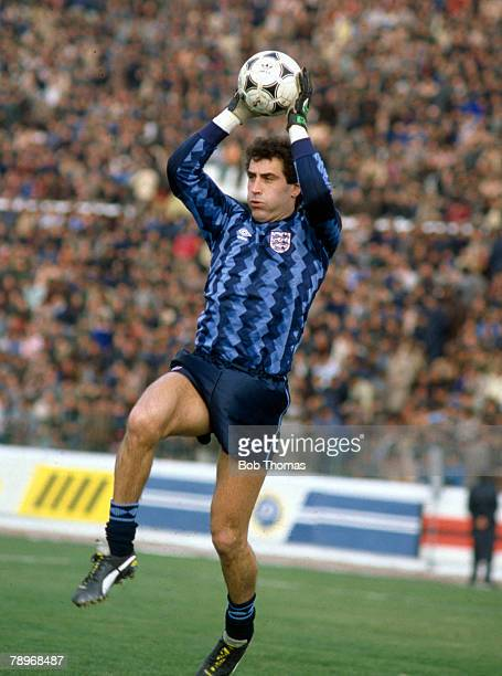 8th May 1989, World Cup Qualifier in Tirana, Albania 0 v England 2, Peter Shilton, England goalkeeper, who won 125 England international caps between...