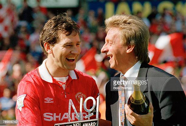 8th May 1994 FA Carling Premiership Manchester United 0 v Coventry City 0 Manchester United's Bryan Robson pictured with former United star Denis Law...
