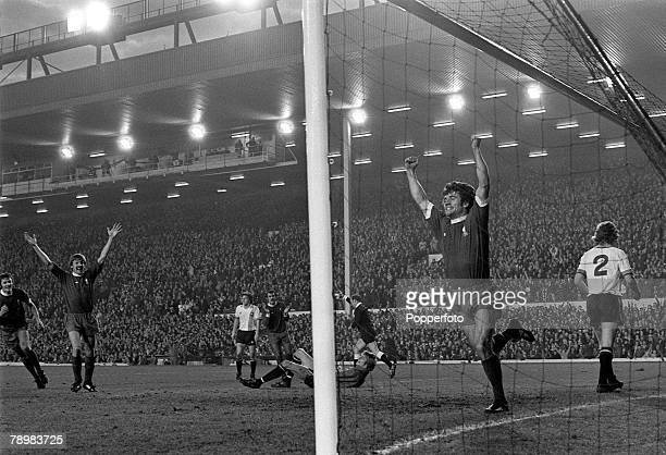 8th November 1975 Division 1 Liverpool 3 v Manchester United 1 at Anfield Liverpool's Kevin Keegan celebrates in the goalmouth after scoring his goal