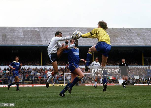9th April 1988 FA Cup SemiFinal White Hart Lane Wimbledon 2 v Luton Town 1 Wimbledon goalkeeper Dave Beasant saves from Luton Town's Brian Stein